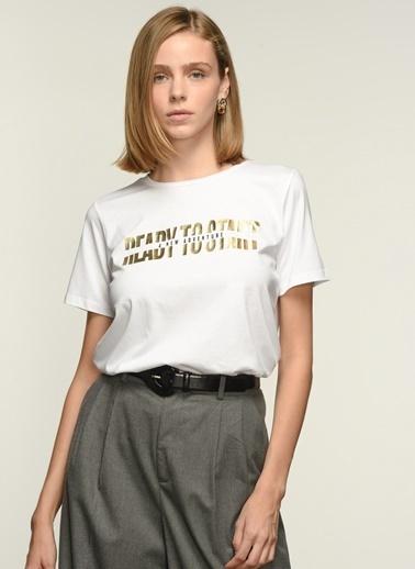 NGSTYLE Kadın Varak Baskılı  Tişört NGKSS21TS0062 Beyaz